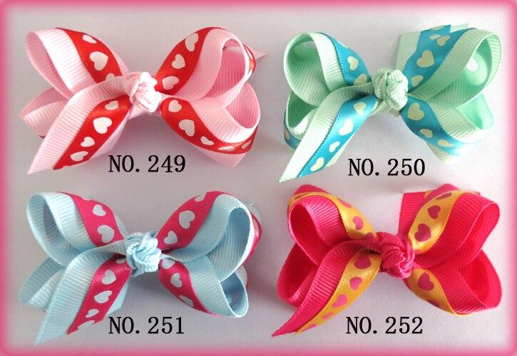 "70 BLESSING Good Girl 5.5/"" Double ABC Hair Bow Clip Grosgrain Ribbon Wholesale"