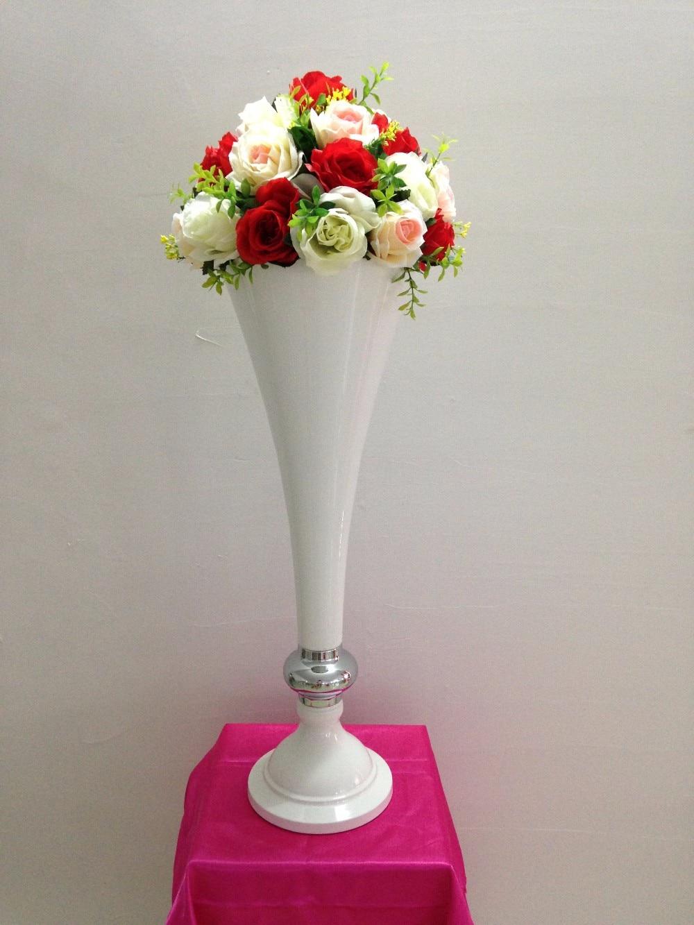 Logam Vas Bunga Putih Pernikahan Tabel Centerpiece Batu Dekorasi