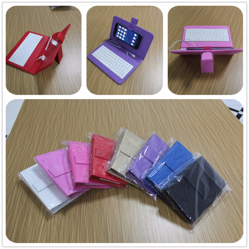 Multi color Leather smartphone se case Flip cover wired OTG USB Keyboard for Android Phone xiaomi note meizu huawei samsung
