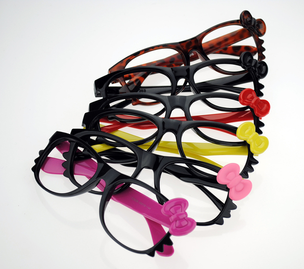 cddbd4044 WITH LENS Hello Kitty Style Fashion Glasses Black Frame Pink bow Nerd  Costume