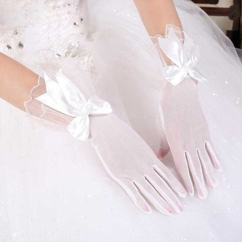 Women Bridal Wedding Short Wrist Gloves Ruffles Layered Flare Trim Patchwork Mittens Swallowtail Bowknot Decor Party Costume