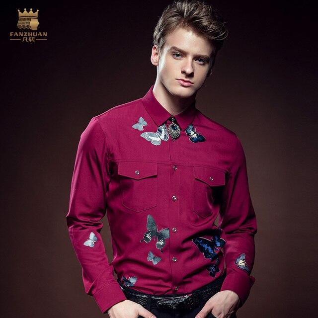 FanZhuan Бесплатная Доставка мода повседневная Новый человек мужской мужская зимняя бизнес бабочка рубашка с длинными рукавами рубашки 612158 На Продажу