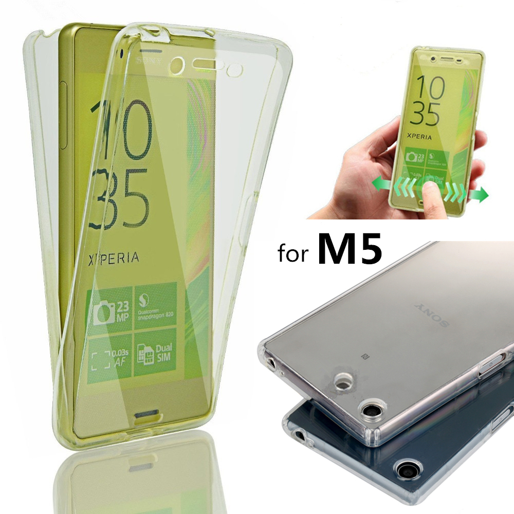 M5 Crystal Touch Full body Transparent Case for Sony Xperia M5 Dual Cover Soft Silicone Phone bag Cases for Sony Xperia M5