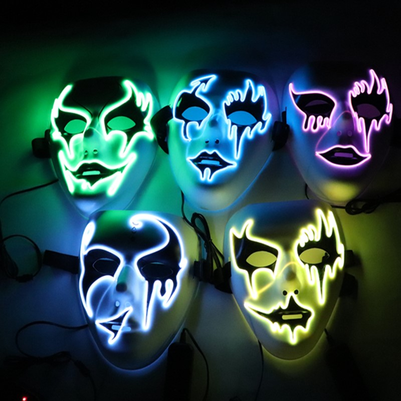 Ropalia Dropshipping El Wire Mask Light Up Neon Skull Led Mask For Halloween Party 2018 Theme Cosplay Masks Ship From Us Novelty & Special Use