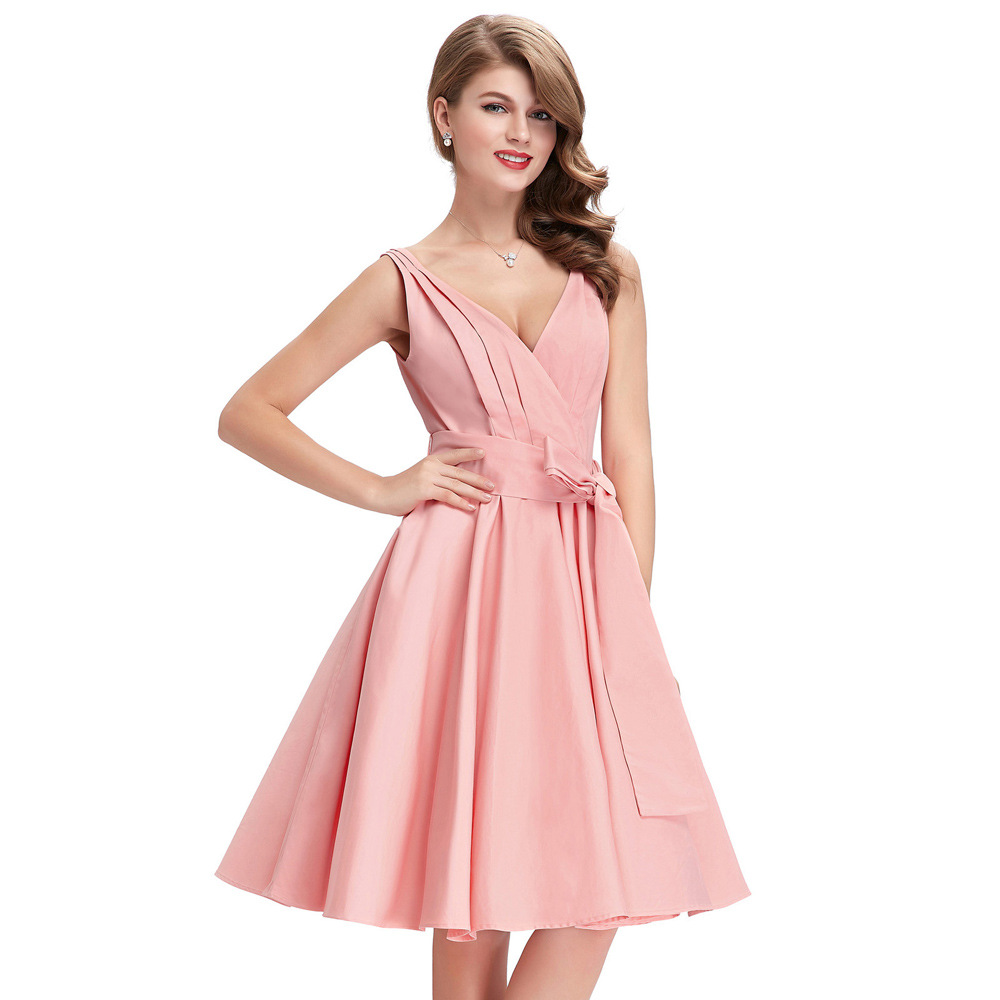 50s Dress Summer Women Big Size V Neck With Belts Casual ...