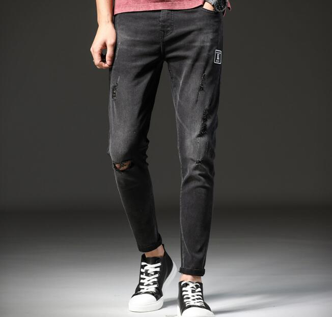 Popular 2018 primavera nueva llegada directa recta hombres Jeans Causal tobillo longitud