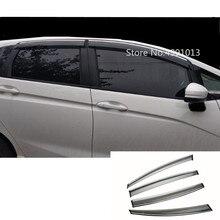 لهوندا صالح جاز 2017 2018 2019 سيارة ملصق التصميم البلاستيك زجاج النافذة الرياح قناع المطر/الشمس الحرس تنفيس 4 قطعة