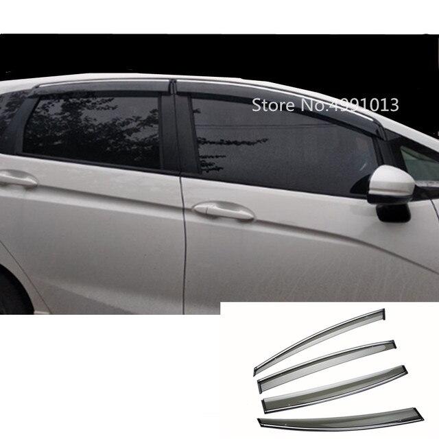 For Honda Fit Jazz 2017 2018 2019 car sticker styling plastic window glass wind visor rain/sun guard vent 4pcs
