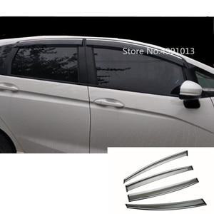 Image 1 - Para Honda Fit Jazz 2017 2018 2019 janela de vidro etiqueta do carro styling plástico viseira vento chuva/sun guard ventilação 4 pcs