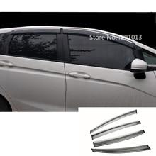 Para Honda Fit Jazz 2017 2018 2019 pegatina de coche estilo ventana de plástico visor de viento lluvia/protector de sol para ventilación 4 Uds