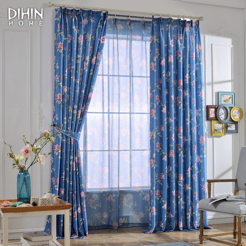 High Window Curtains: High Quality Flower Printed Curtains For Living Room