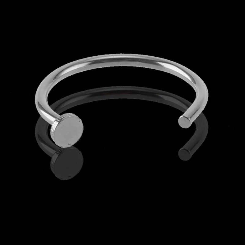 Joyería de cuerpo Falso C Acero quirúrgico aro de nariz abierta Simple Piercing clip de perno en 6/8/10mm aro pequeño Sexy de acero de titanio