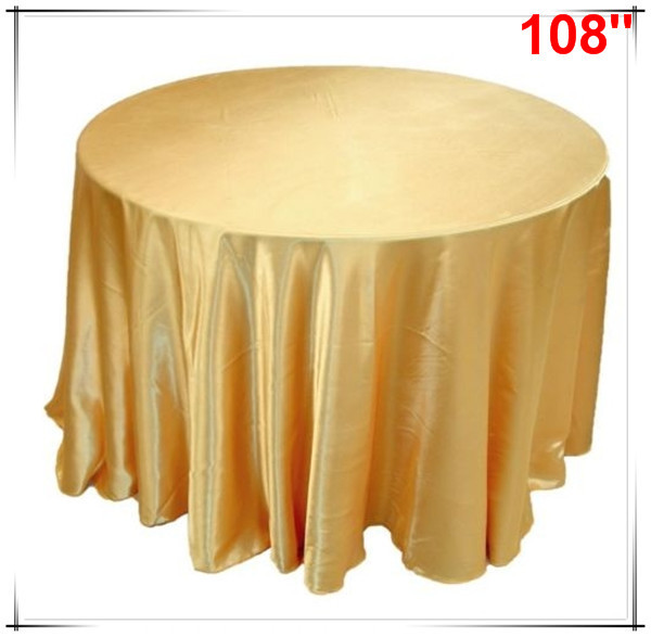 Beau 10pcs 108u0027u0027 High Quality Satin Golden Seam Table Clothes ...