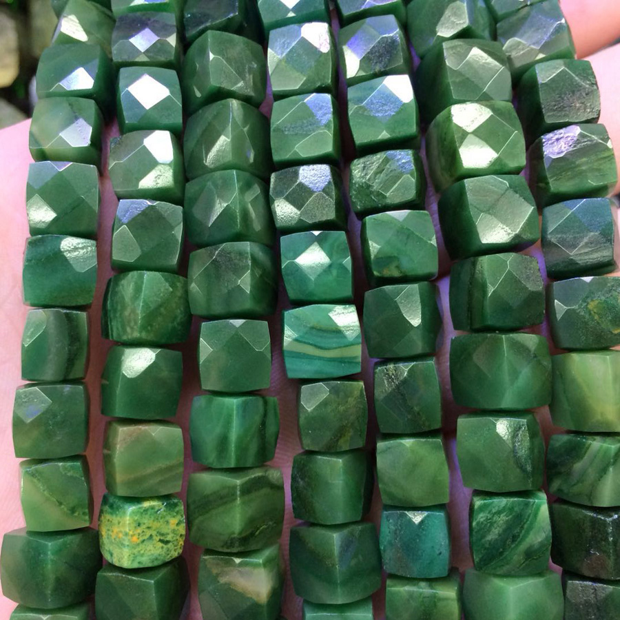 square shape african jade beads natural stone beads DIY spacer beads for jewelry making strand 15