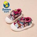 2016 Зима Brand Design slip-на мультфильм холст толстые плюшевые infantil дети первые ходоки ковылять мокасины новорожденных девочек теплые обувь