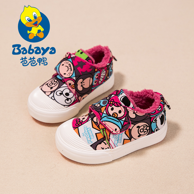 2016 Winter Brand Design slip-on cartoon canvas thick plush infantil children first walkers toddle loafers baby girls warm shoes