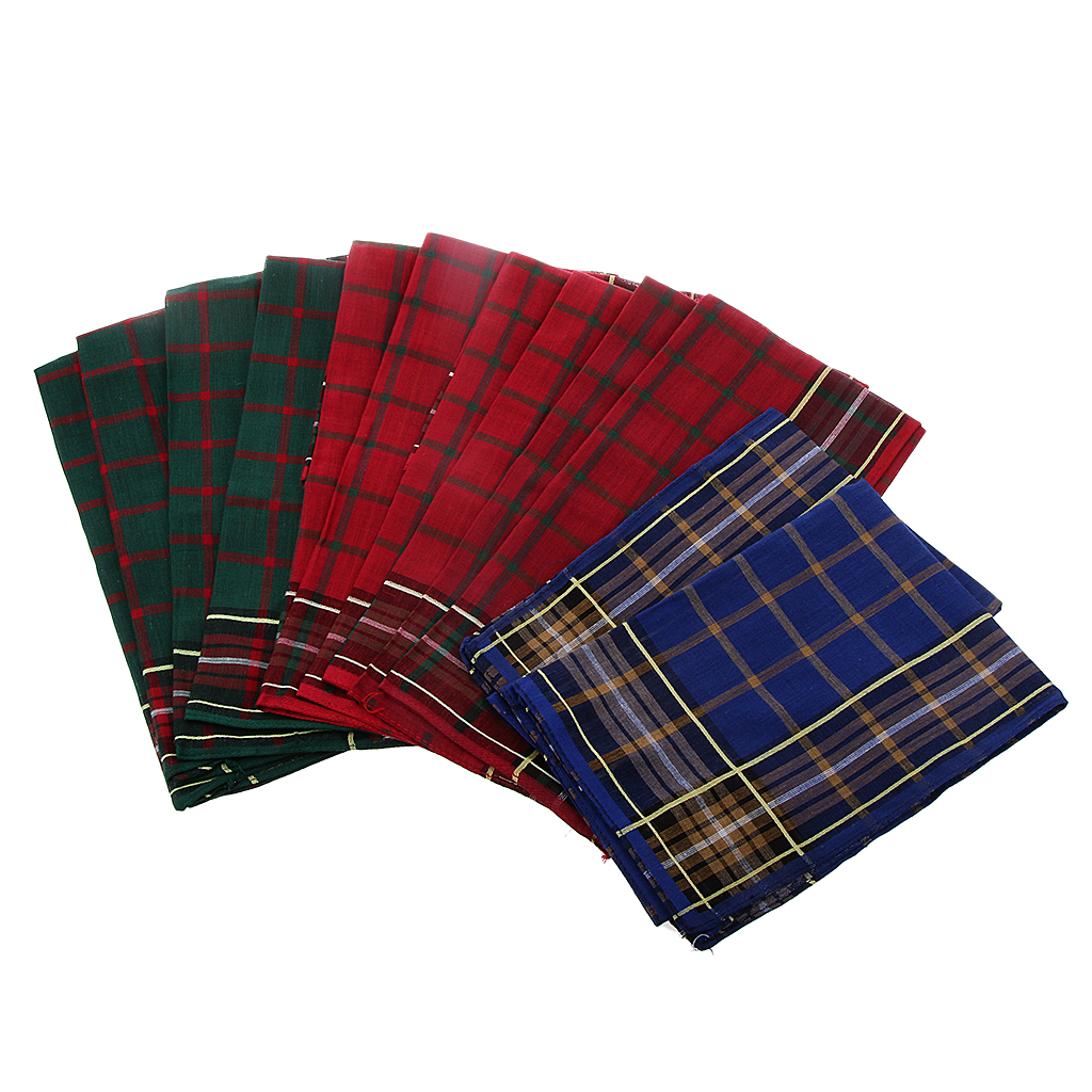 12PCS Wholesale Vintage Mens Handkerchief 100% Cotton Plaid Pocket Square Male Wedding Hanky Xmas Accessories