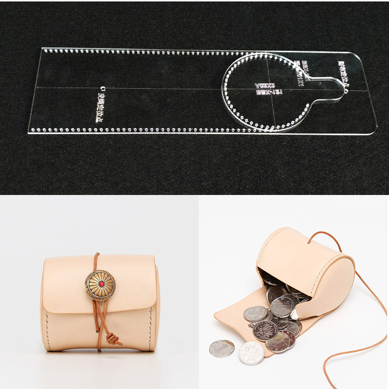 1set DIY handmade leather cylinder zero purse coin bag lady bag acrylic durable template version sewing patterns  8x6.5X6.5cm coin purse