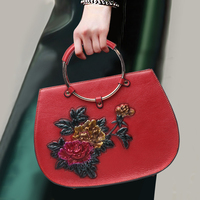 Благородный натуральная кожа Для женщин ручкой цветочным узором верхняя кожа кольцо ручка топ сумки банкетный сумка для подарки на день ро