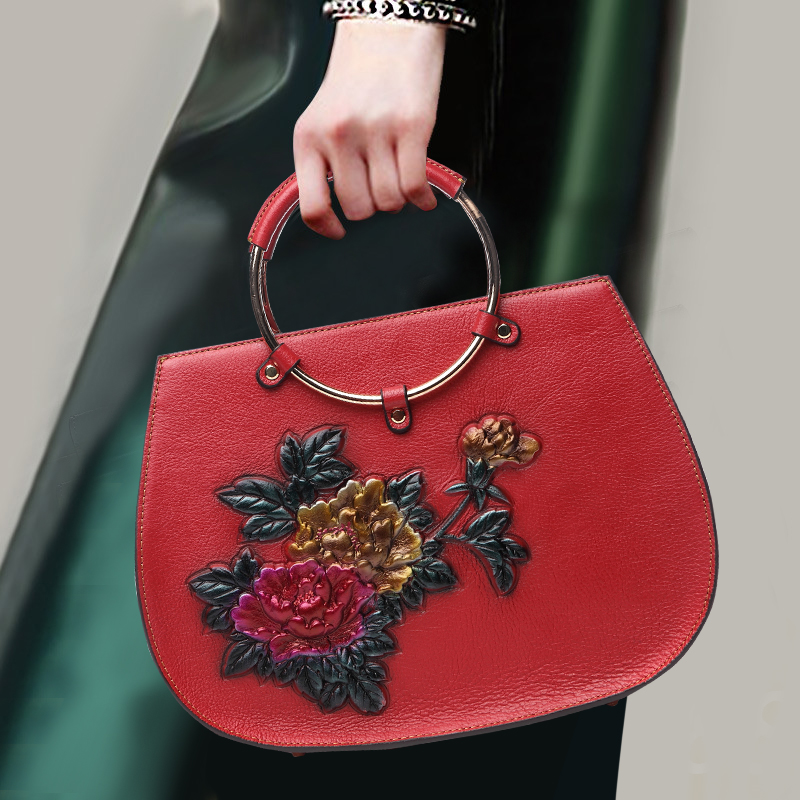 Noble Genuine Leather Women Handle Bag Flower Pattern Top Leather Ring Handle-top Bags Banquet Shoulder Bag for Birthday Gifts plus size cold shoulder rose pattern top