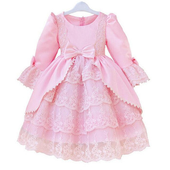 2016 baby Girl designer quality dress children lace ball gown party 5 layer dresses kids girls court dress white pink longsleeve