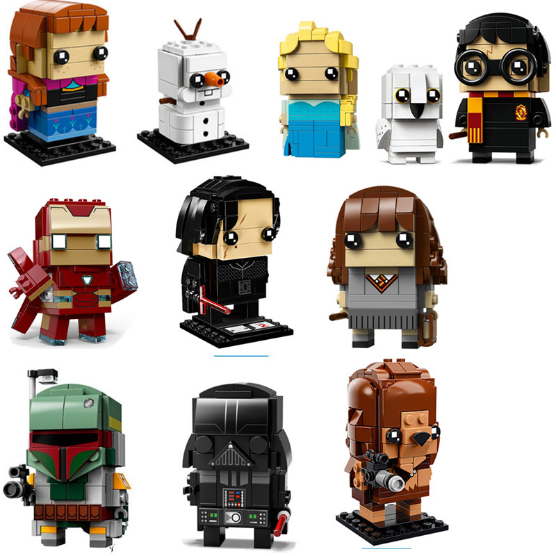 Lepines Super Hero IronMan Marvel Princess Mermaid Ariel Mickey Action Figure Toy BrickHeadz Building Blocks Toys For Children