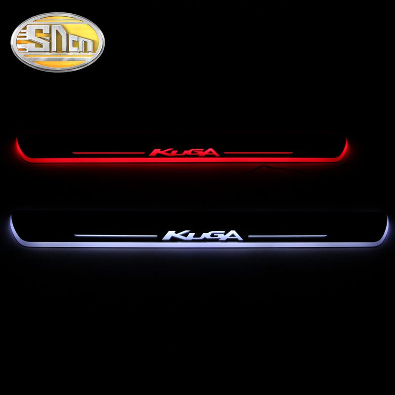 SNCN Waterproof Acrylic Moving LED Welcome Pedal Car Scuff Plate Pedal Door Sill Pathway Light For Ford Kuga 2013 2014 2015