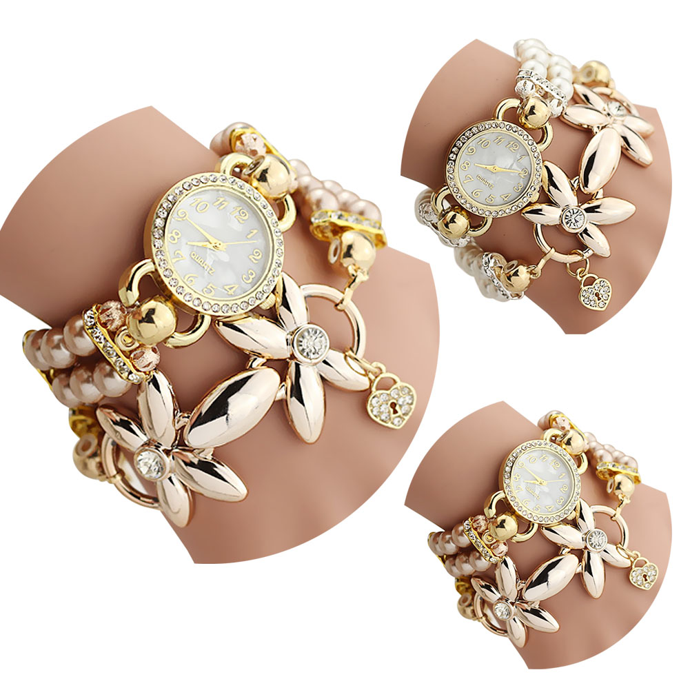 Rhinestone bracelet Watch Women Ladies Fashion Quartz watch Female Clock Flower Imitation Pearl Chain Quartz wrist Watches LL 6 colors fashion rhinestone women jewelry watch vintage square mini dial bracelet fancy wrist watch for ladies gifts ll