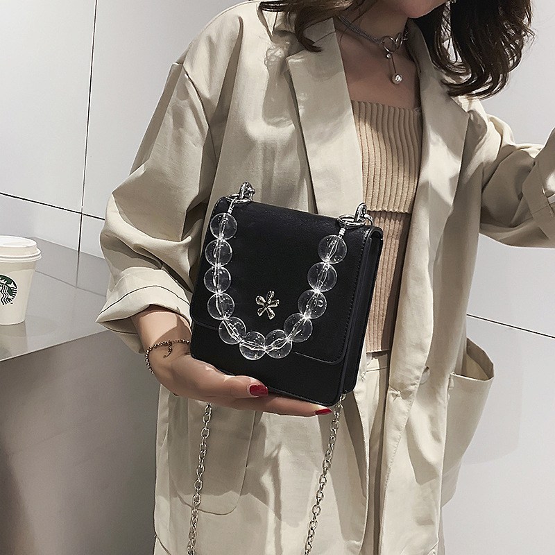 Female Crossbody Bag Women 2019 Quality PU Leather Luxury Handbags Designer Sac A Main Ladies Glass Bead Shoulder Messenger Bag in Top Handle Bags from Luggage Bags