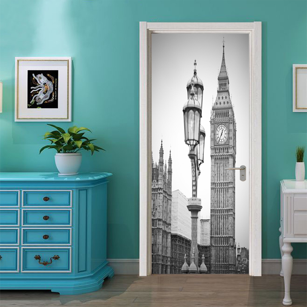 Image 5 - Black White Old Photo PVC Removable 3D City Vintage Scenic Fridge Sticker Wall Door Stickers Street Lamp Big Ben Clock Pattern-in Door Stickers from Home & Garden