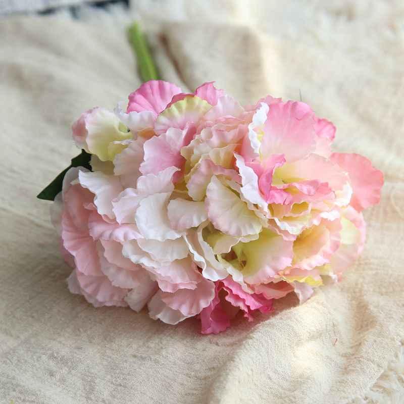 1 unidad de nieve Artificial de una sola rama de hortensia flor hecho ramillete de boda decorativo o DIY producción telón de fondo con flores