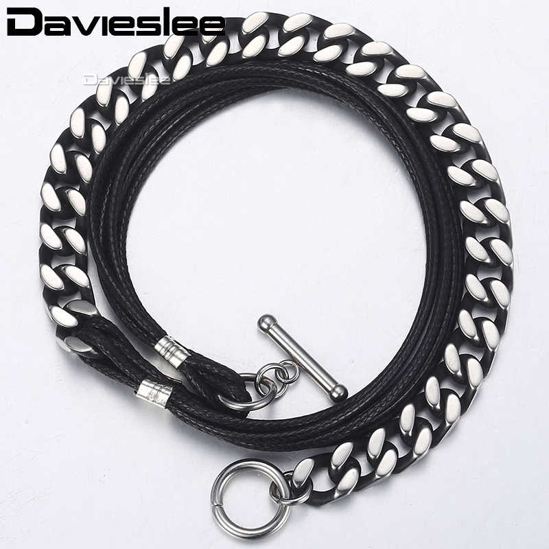 Bracelets for Men Stainless Steel 6 Strands Black Man-made Leather Gunmetal Tone Cut Curb Cuban Chain Mens Bracelet 8mm  LDLB66