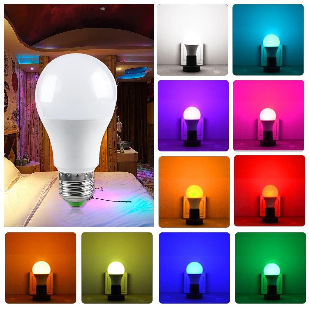 Image 4 - RGB LED הנורה אור E27 GU10 5 w 10 w 15 w Dimmable מנורת ססגוניות משתנה + IR שלט רחוק RGB Lampada מקורה תאורת מנורהנורות וצינורות LED   -