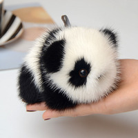 New Fashion Cute Panda Keychain Soft Real Mink Fur Ball Car Keyrings Pompom Key Chain Women Bag Doll Toy Pendant Accessories DIY