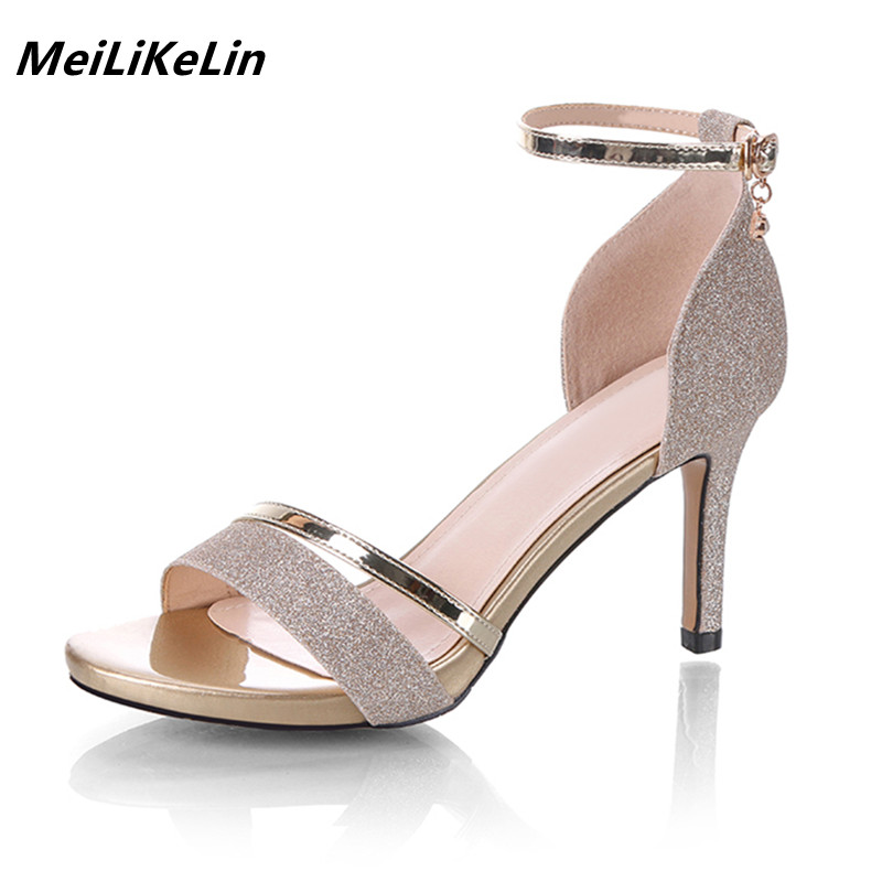 9d2336e8fa3c10 Aliexpress.com   Buy MeiLiKeLin Fashion Women 8 cm Heel Sandals Sequined  Cloth Thin High Heels Ankle Strap Open Toe Sandals Shoes All match Lady Shoe  from ...