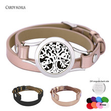 Retro Charm Bracelet Rose Gold Bangle 316L Stainless Steel Leather Bracelet Aromatherapy Essential Oil Diffuser Locket(China)