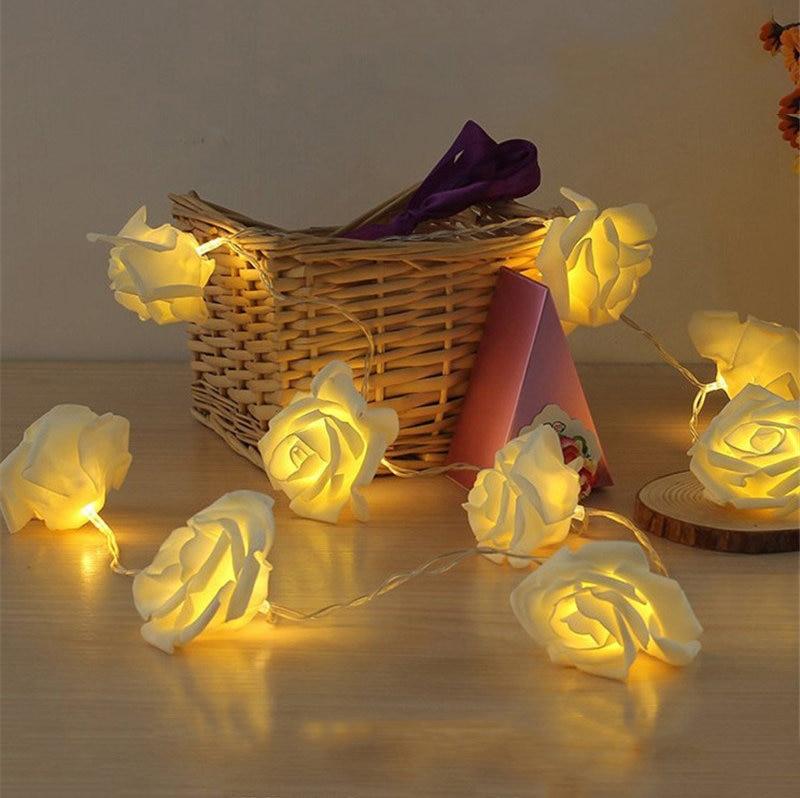 6 meter 40 roos guirlande met led licht voor bruiloft evenement - Vakantie verlichting