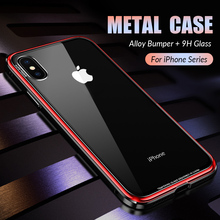 Luxury Metal Case for iPhone XR XS Max Case Aluminium Metal Bumper Tempered Glass Phone Cases For iPhone X 7 8 Plus Cover Coque