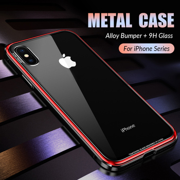 e508031a685 Funda de Metal de lujo para iPhone XR XS Max carcasa de aluminio Metal  parachoques de vidrio templado para iPhone X 7 funda de 8 Plus
