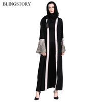 BLINGSTORY Fashion Arabia Middle East Dubai Robe Women's Cardiga Long Gown Embroidered Drill Muslim Dress with Belt KKD095