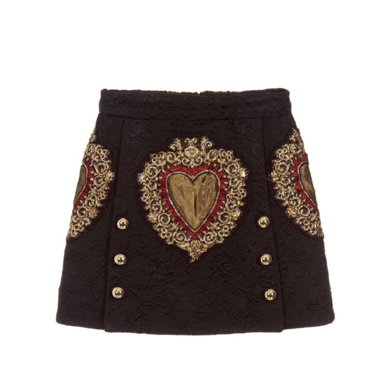 Vintage Black Heart Embroidery A Line Skirt Women 2020 Runway Designer Double Breasted Female Ladies Party Mini Skirt Clothing