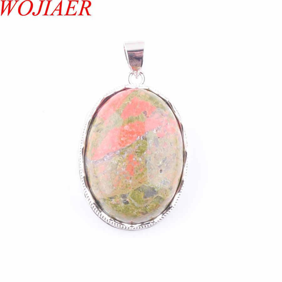 ブルーハウライトアベンチュリン瑪瑙宝石の石オーバルビーズシルバーネックレス & ペンダントジュエリーチェーン 18 インチ WOJIAER PBN329