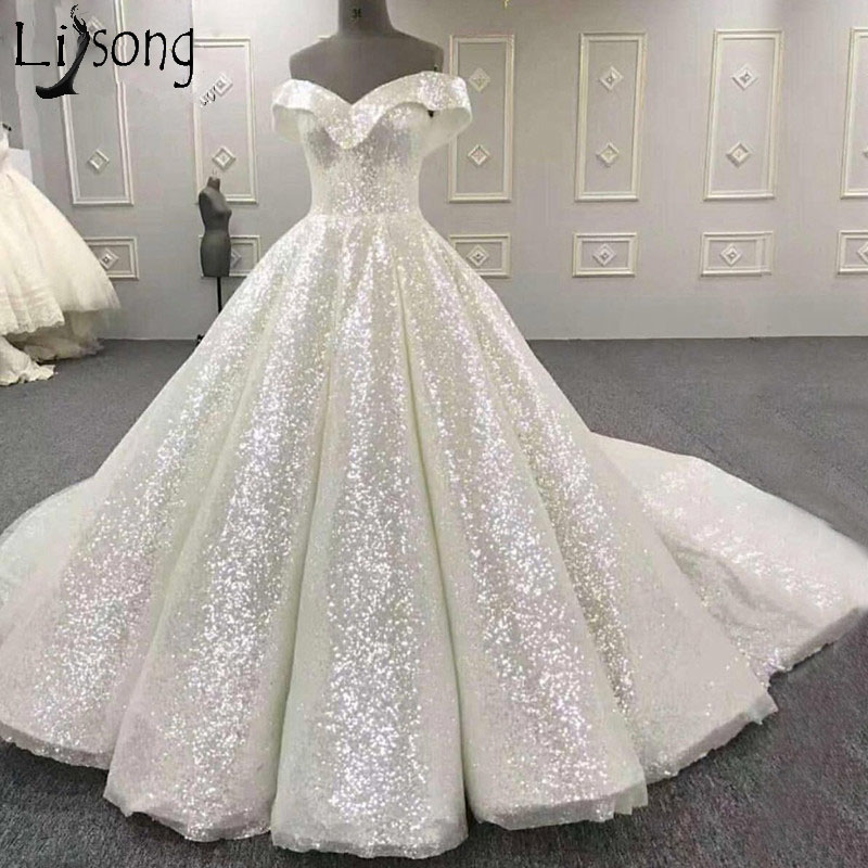 Amazing Shiny Wedding Dress 2019 New Bling Bling Ball Gown