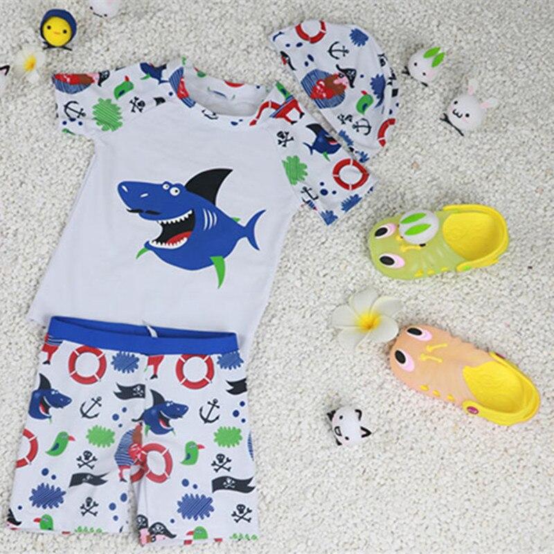 3fa2f2b9193 Children's Bathing Suit Baby Girls Boys Swimsuit UV UPF50+ Shark Pattern 3  Three Piece Swimwear for Kids 12M 2 7 Years Old-in Children's One-Piece ...