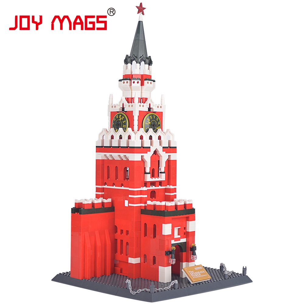 JOY MAGS Toy Famous Architecture series The spasskaya Tower Of Moscow KREMLIN Model Building Blocks Classic Toys 8017 architecture of the north western district of azerbaijan