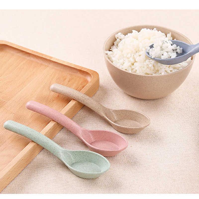 Popular cuchara de paja de trigo portátil de alta calidad vajilla ecológica Venta caliente accesorios de cocina de restaurante