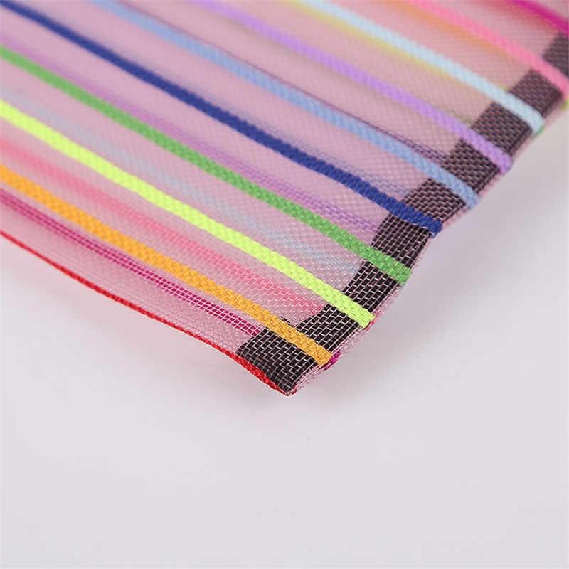Mrosaa A4 A5 B4 B5 B6 Colorful Nylon Transparent Mesh Bag Data Bag File Folder Stationery Storage Pencil bag School Supplies