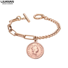 Elizabeth Coin Charm Bracelet Stainless Steel Chain Link for Women Girls Jewelry Gift to Girlfriend Female Friend