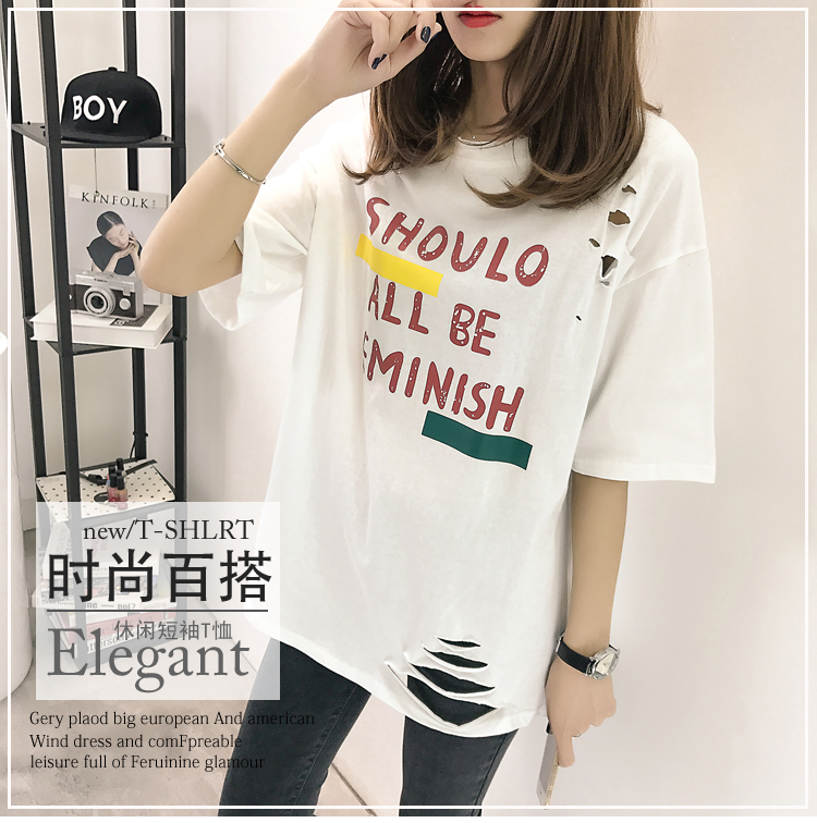 XL- 4XL 2019 new plus size summer loose High Street hole Letter print short sleeve O-Neck women T-shirt top tee TY5 7