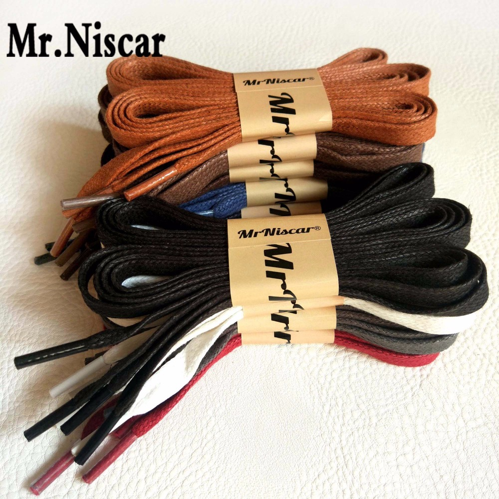Mr.Niscar 10 Pair Width 0.8cm/Thick 0.2cm Flat Waxed Shoelaces Wax Cotton Shoe Laces Strings for Leather Shoes Boots Lace Rope mr niscar 10 pair width 0 8cm thick 0 2cm flat waxed shoelaces wax cotton shoe laces strings for leather shoes boots lace rope